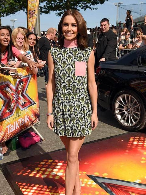 <p>Cheryl Fernandez-Versini wearing Sophia Webster heels at the London auditions of X Factor, July 2015.</p>