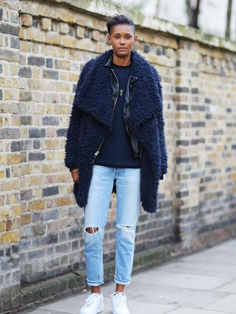 <p>Ysaunny Brito</p>  <p>Zara coat, Citizen of Humanity jeans, Nike shoes</p>