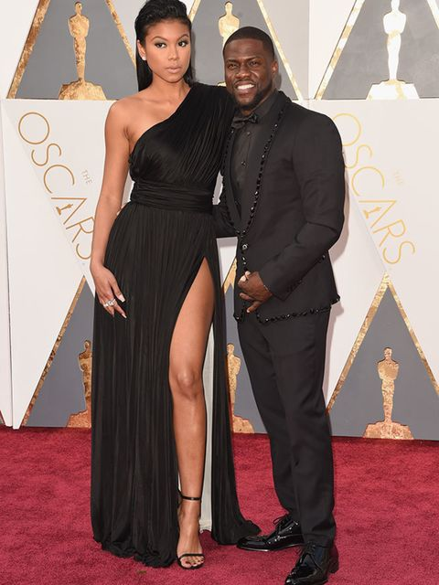Kevin Hart and Eniko Parrish at the Oscars in LA, February 2016.