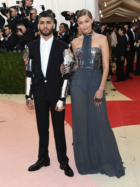 <p>Gigi Hadid in Stuart Weitzman and Zayn Malik at the Met Gala in New York, May 2016.</p>