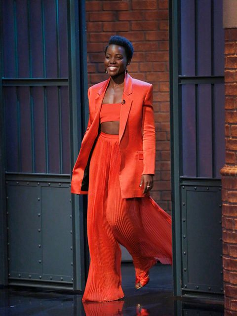 Lupita Nyong'o wears Balmain for an appearance on Late Night with Seth Meyers, March 2016.