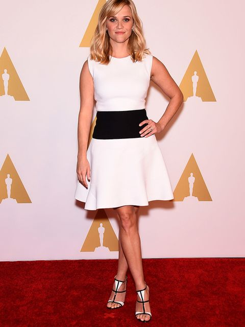 Reese Witherspoon wears Giambattista Valli at the 87th Annual Academy Awards Nominee Luncheon in Los Angeles, February 2015.