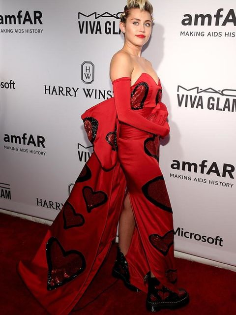 Miley Cyrus attends the amfAR Inspiration Gala in New York, June 2015.