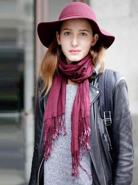<p>Niousha, 19, Student and Model. Vintage jacket, H&amp&#x3B;M hat.</p>