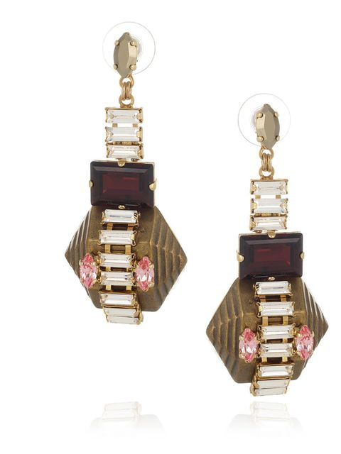 """<p>Exclusive crystal and gold stone earring, £125 at <a href=""""http://www.theoutnet.com/"""">www.theoutnet.com</a></p><p>Available from Monday 5th November </p>"""