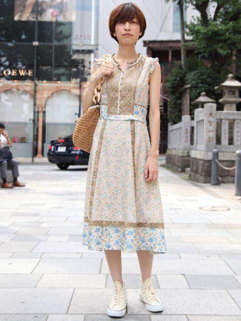 <p>Arimura, 27, Shop Assistant. Marc by Marc Jacobs dress, Converse trainers.</p>
