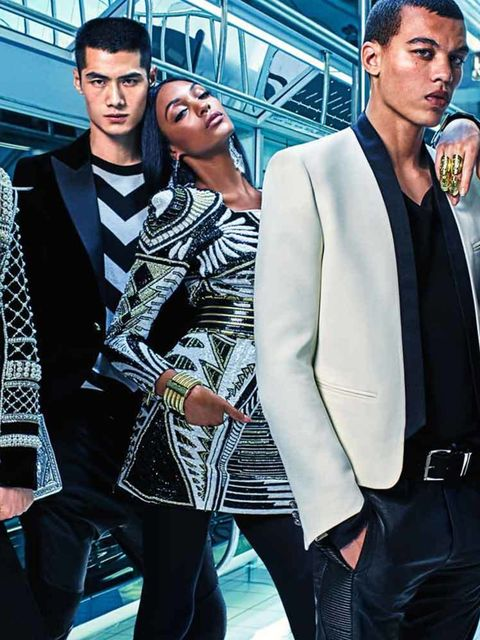 Gigi Hadid, Hao Yun Xiang, Jourdan Dunn, Dudley O'Shaughnessy and Kendall Jenner star in the new H&M X Balmain campaign, photographed by Mario Sorrenti, September 2015.