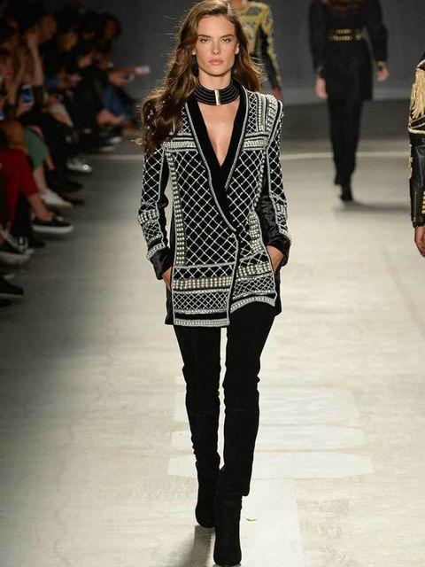 <p>Alessandra Ambrosio walks in the H&M x Balmain catwalk show.</p>