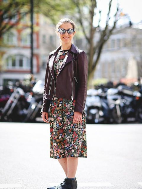 <p>Kirsty Dale, Executive Fashion & Beauty Director</p>  <p>Whistles jacket, Topshop top and dress, Jimmy Choo shoes, Bobbi Brown sunglasses</p>