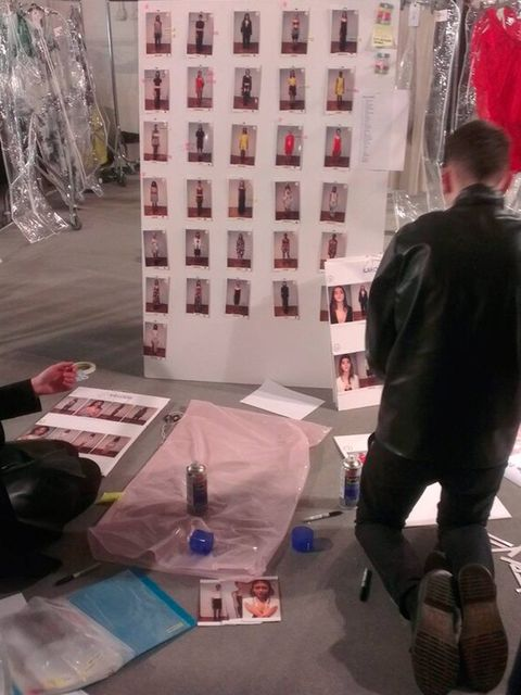 <p>The Rihanna for River Island look board, backstage.</p>