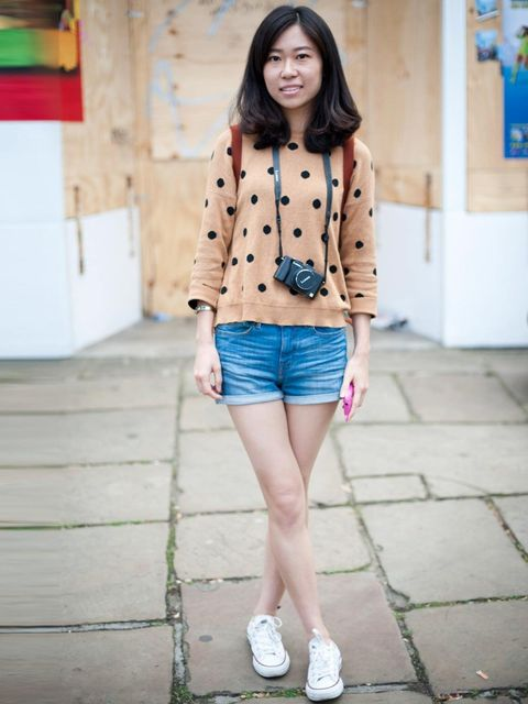 <p>Zhen, 22. Primark top, Zara shorts, Converse trainers, Longchamp bag.</p>