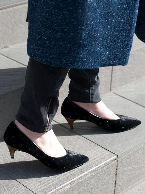 <p>Michelle Duguid, Senior Fashion Editor</p>  <p>Whistles coat, Tommy Hilfiger shirt, Paige Denim jeans, Saint Laurent shoes</p>