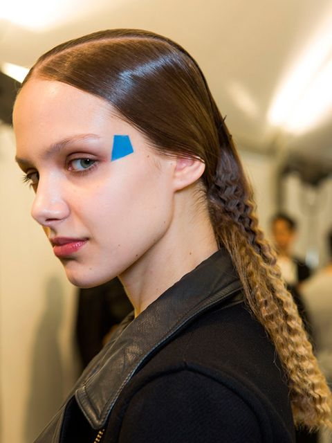 """<p><a href=""""http://www.elleuk.com/catwalk/issey-miyake/autumn-winter-2015""""><strong>Issey Miyake</strong></a></p>  <p>The look: Texture explosion</p>  <p>Hair stylist: <a href=""""http://www.elleuk.com/beauty/the-beauty-experts-you-need-to-know-charlotte-tilb"""