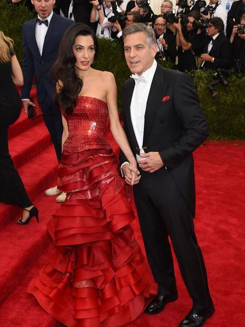 <p>Amal and George Clooney at the Met Gala in New York, May 2015.</p>