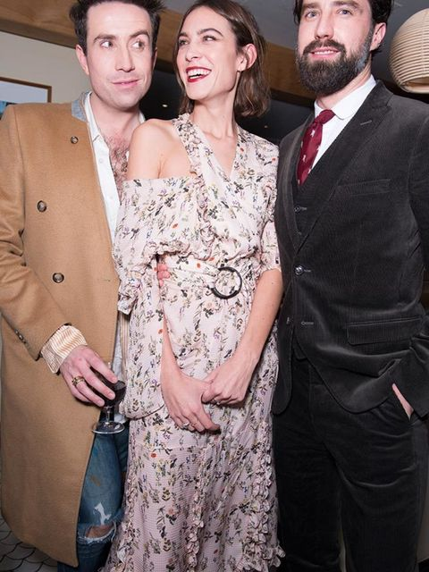 Nick Grimshaw, Alexa and Jack Guiness at Alexa Chung's birthday party at South Kensington Club in London, November 2015.