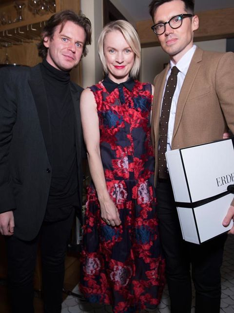 Christopher Kane, Lorraine Candy and Erdem at Alexa Chung's birthday party at South Kensington Club in London, November 2015.