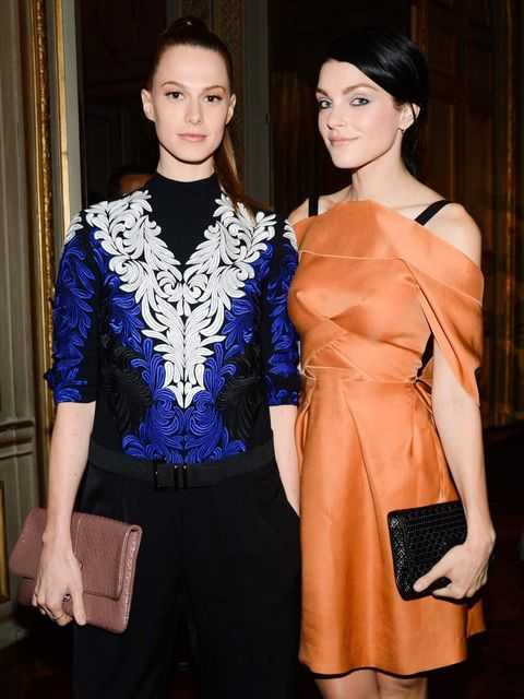 <p>Elettra Weidman & Jessica Stam at the Tod's party, Paris </p>
