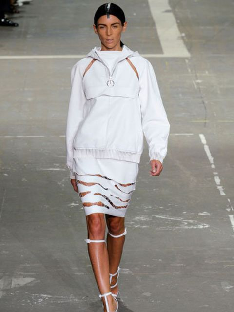<p>Model Liberty Ross walked in the Alexander Wang SS13 show</p>