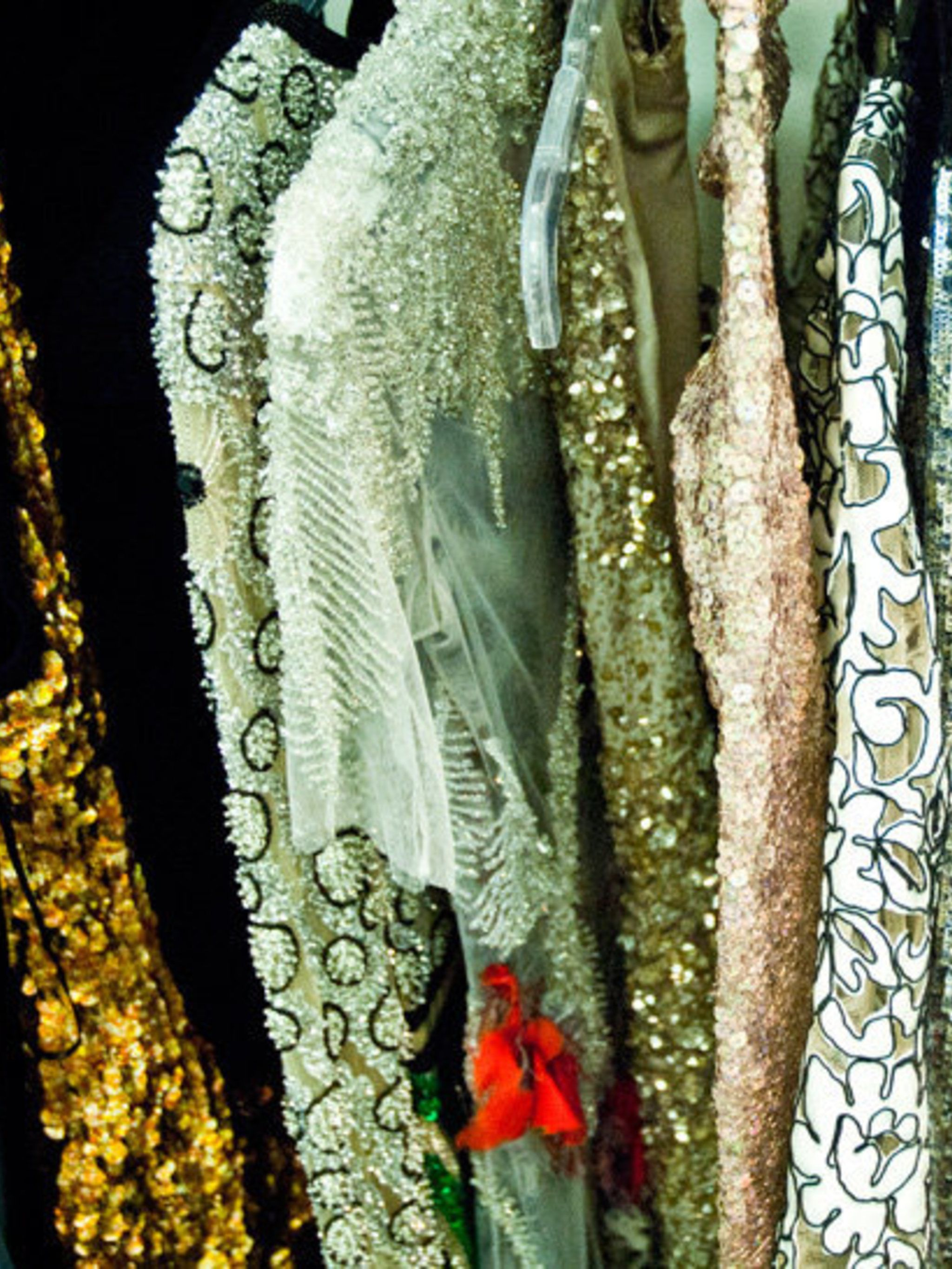 <p>A section of the fashion rail which included 100 looks from the world's greatest fashion houses and designers.</p>