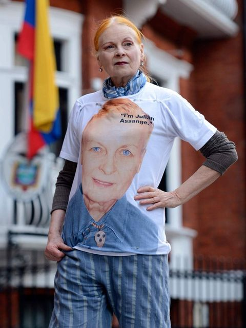 "<p><a href=""http://www.elleuk.com/fashion/news/vivienne-westwood-visits-julian-assange"">Vivienne Westwood</a> has been staunch in her support of Wikileaks founder Julian Assange and her range of t-shirts stating 'I am Julian Assange'.</p>"