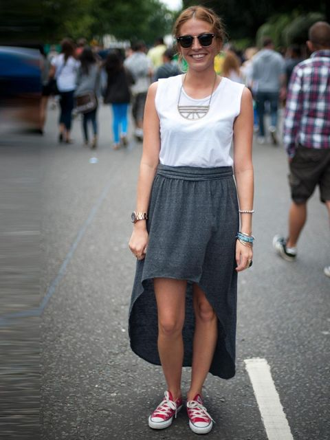 <p>Lesley, 23. Topshop skirt and top, Converse shoes, Ray Ban glasses, Marc Kors watch, Uo jewellery.</p>