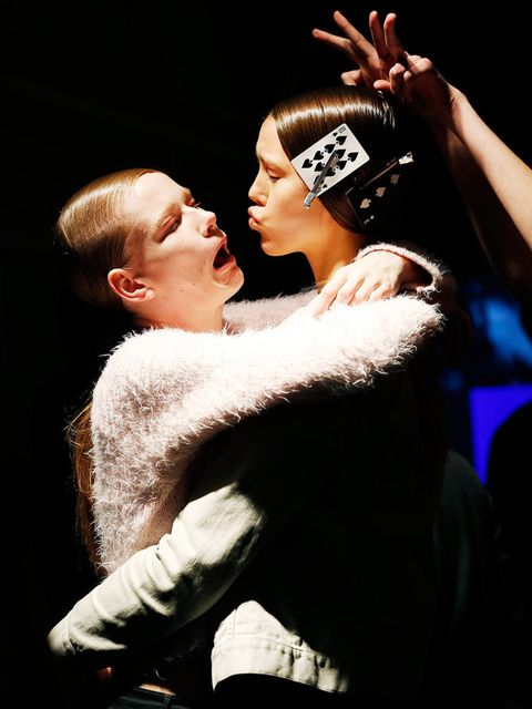 "<p>Backstage at <a href=""http://www.elleuk.com/catwalk/designer-a-z/holly-fulton/autumn-winter-2014"">Holly Fulton</a>, London Fashion Week</p>"