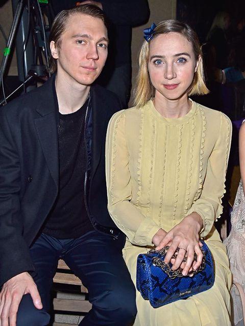 Paul Dano and Zoe Kazan on the Miu Miu front row during Paris Fashion week AW16.