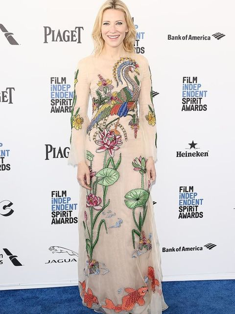 Cate Blanchett wears a Gucci dress with Fendi sunglasses at the Independent Spirit Film Awards in California, March 2016.