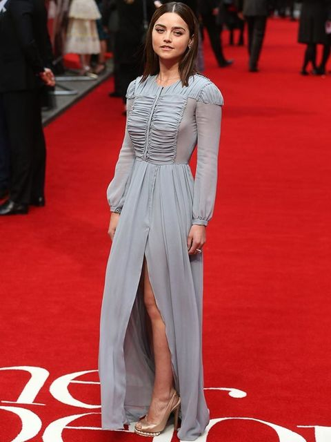 Jenna Coleman wearing Nicholas Kirkwood shoes to the Me Before You premiere in London, May 2016.
