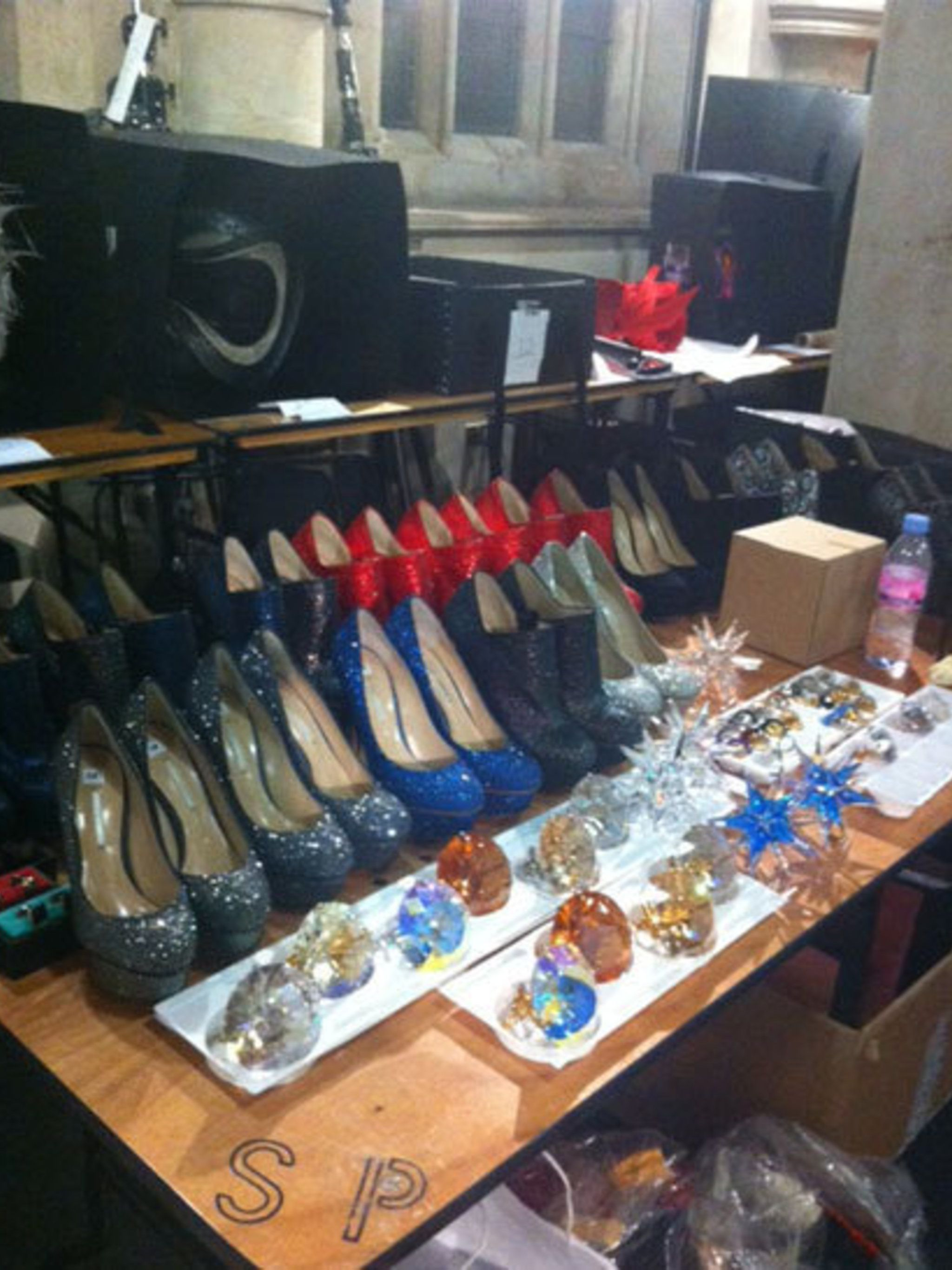<p>Nicholas Kirkwood shoes, plus jewellery backstage at Philip Treacy spring summer 2013</p>
