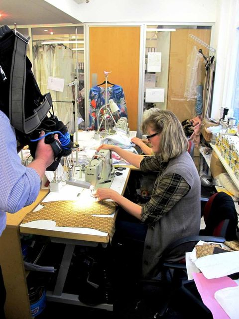 <p>'Our amazing seamstresses hard at work and being filmed by a TV crew'</p>