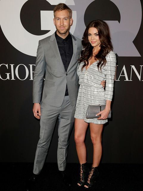 Calvin Harris and Aarika Wolf attend GQ And Giorgio Armani's Grammys After Party, February 2015.