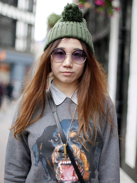 <p>Summer, 21, Student. Givenchy jumper, shirt from South Korea, hat from China.</p>