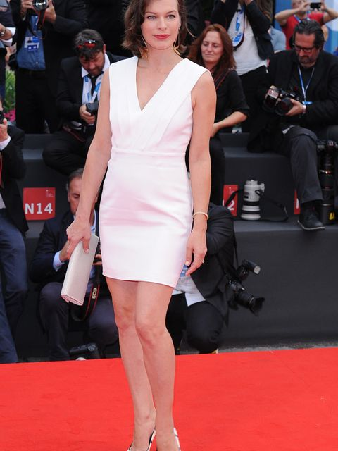 Milla Jovovich attends the Cymbeline premiere during the 71st Venice International Film Festival.
