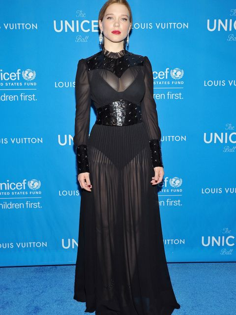 Actress Léa Seydoux sporting Louis Vuitton as Mariah Carey headlines the sixth UNICEF ball in January 2016