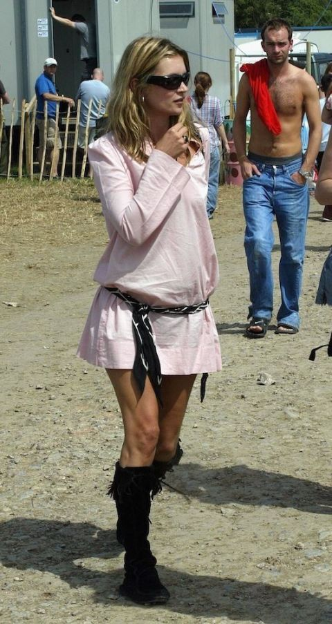<p>Kate Moss at Glastonbury in 2003</p>