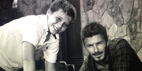 Brooklyn Beckham and David Beckham