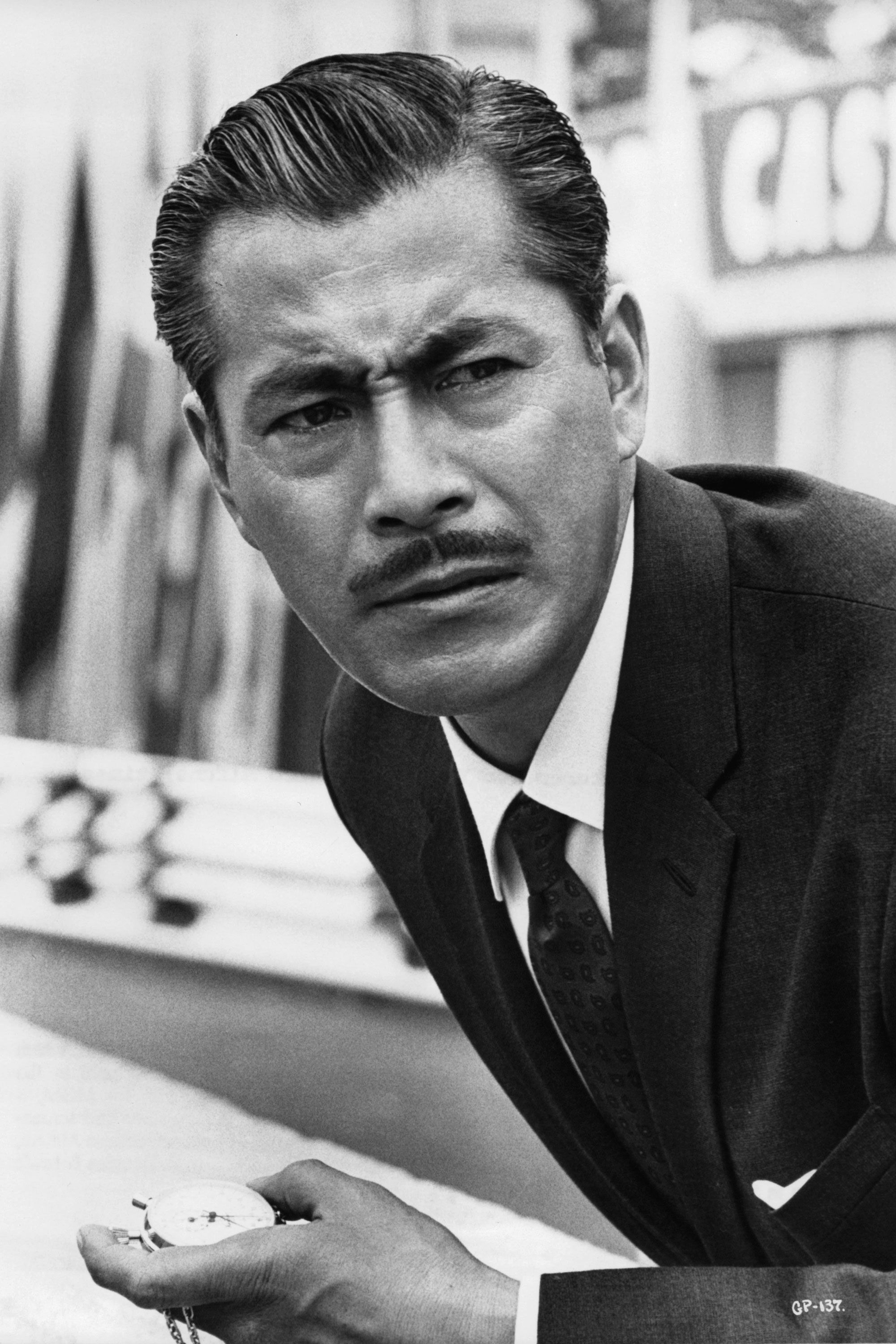 <p>Arguably the most famous Japanese actor of the 20th century, Mifune appeared in four movies in 1961, including <em>Yojimbo</em>, the film in which his character is chased by two crime bosses who want him as their bodyguard.</p>