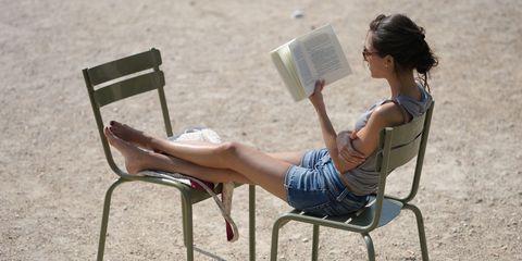Woman reading in the sun