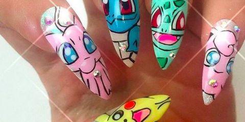 Pokemon nail art on Instagram | ELLE UK - Pokémon Go Inspires Matching Nail Art