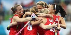 Team GB Hockey celebrating at Rio