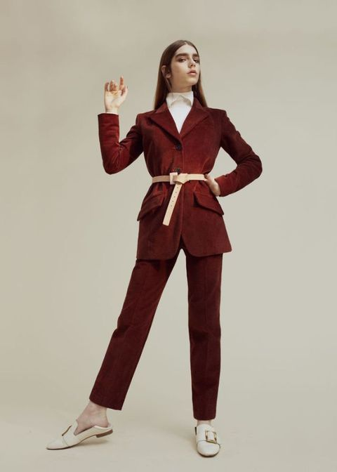 <p>Velvet Corduroy jacket, £402, and matching trousers, £147, both Cacharel. Wool top, £185, Lacoste. Leather shoes, £425, Bally. Leather belt, £65, Marc Cain</p>