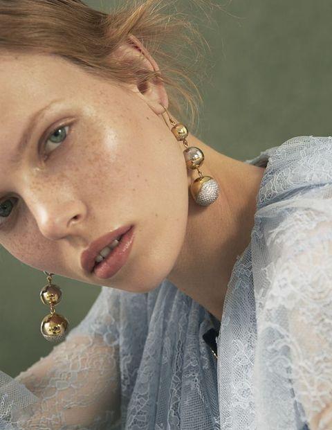 <p>Lace-mix dress, £725, Philosophy di Lorenzo Serafini. Gold earrings, £375, Bally</p>