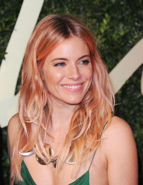 Sienna Miller Rose Gold Hair