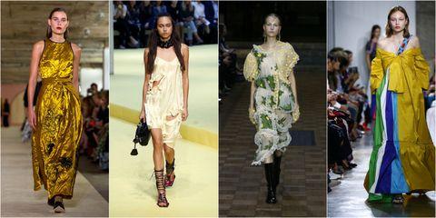 Clothing, Footwear, Yellow, Dress, Fashion show, Fashion model, Style, Runway, Fashion, One-piece garment,
