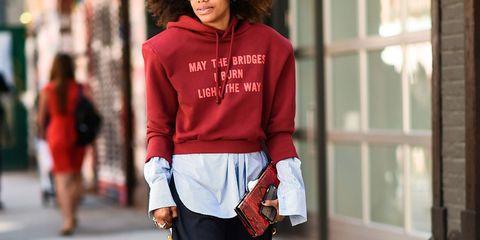 Sleeve, Shoulder, Hoodie, Textile, Outerwear, Winter, Street fashion, Hood, Jacket, Waist,