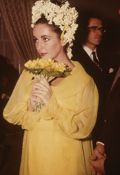 Elizabeth Taylor Unique  yellow Wedding Dress