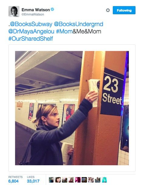 Emma Watson leaves Maya Angelou books on the subway