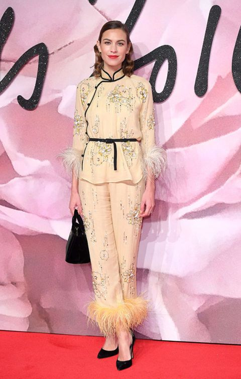 Alexa Chung proving you CAN wear your pjs to the party. In Prada at the Fashion Awards.