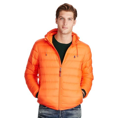 """<p><strong data-redactor-tag=""""strong"""" data-verified=""""redactor"""">Packable Down Jacket, £259</strong></p><p>Perfect for the guy who doesn't mind a bit of attention, this bright orange jacket will get him noticed on the slopes. Plus, it conveniently folds up to fit in his carry-on.<span class=""""redactor-invisible-space"""" data-verified=""""redactor"""" data-redactor-tag=""""span"""" data-redactor-class=""""redactor-invisible-space""""></span></p>"""